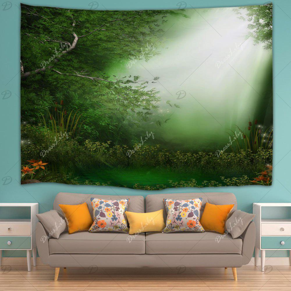 Dreamlike Forest Throw Dorm Decoration Wall Tapestry - GREEN W51 INCH * L59 INCH