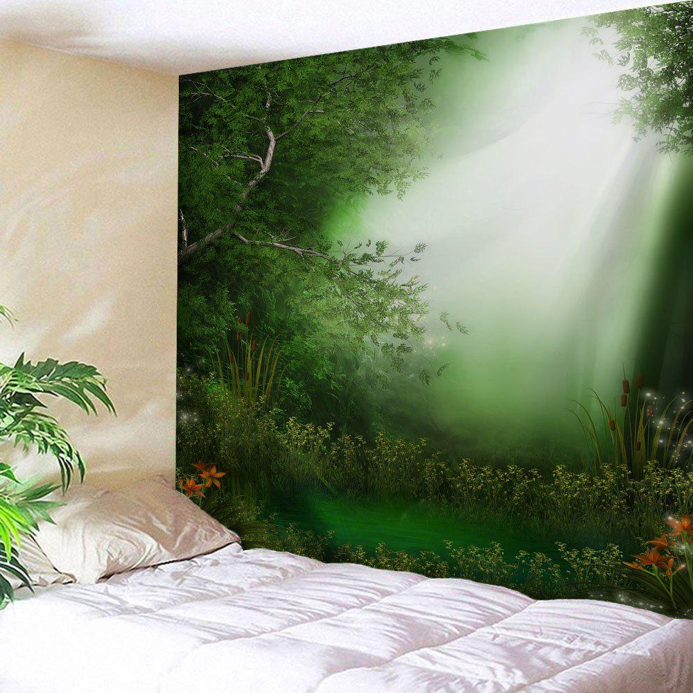 Dreamlike Forest Throw Dorm Decoration Wall Tapestry - GREEN W59 INCH * L79 INCH
