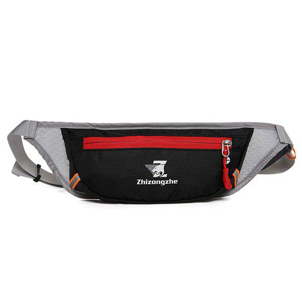 Color Block Light Weight Breathable Waist Bag - BLACK