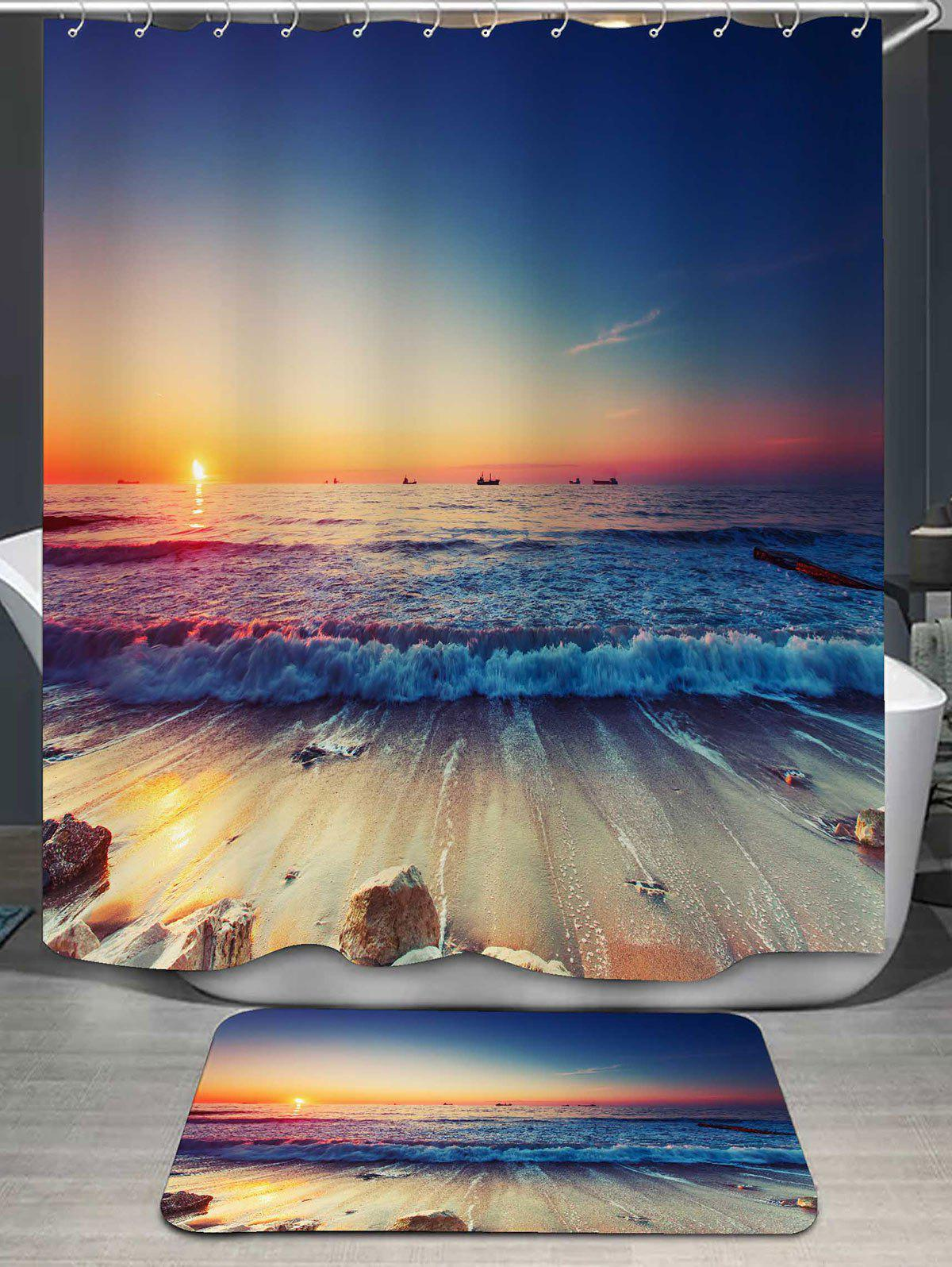 Beach Scenery Printed Shower Curtain and Rug galaxy printed shower curtain and area rug