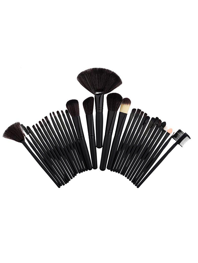 Aluminum Tube Beauty Makeup Brushes Set - BLACK