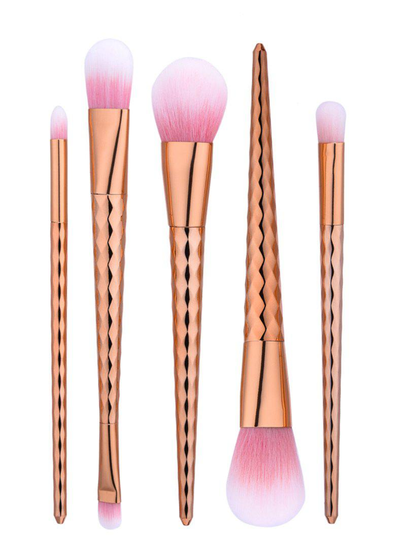 Wave Tapered Handle Makeup Brushes Set - ROSE GOLD