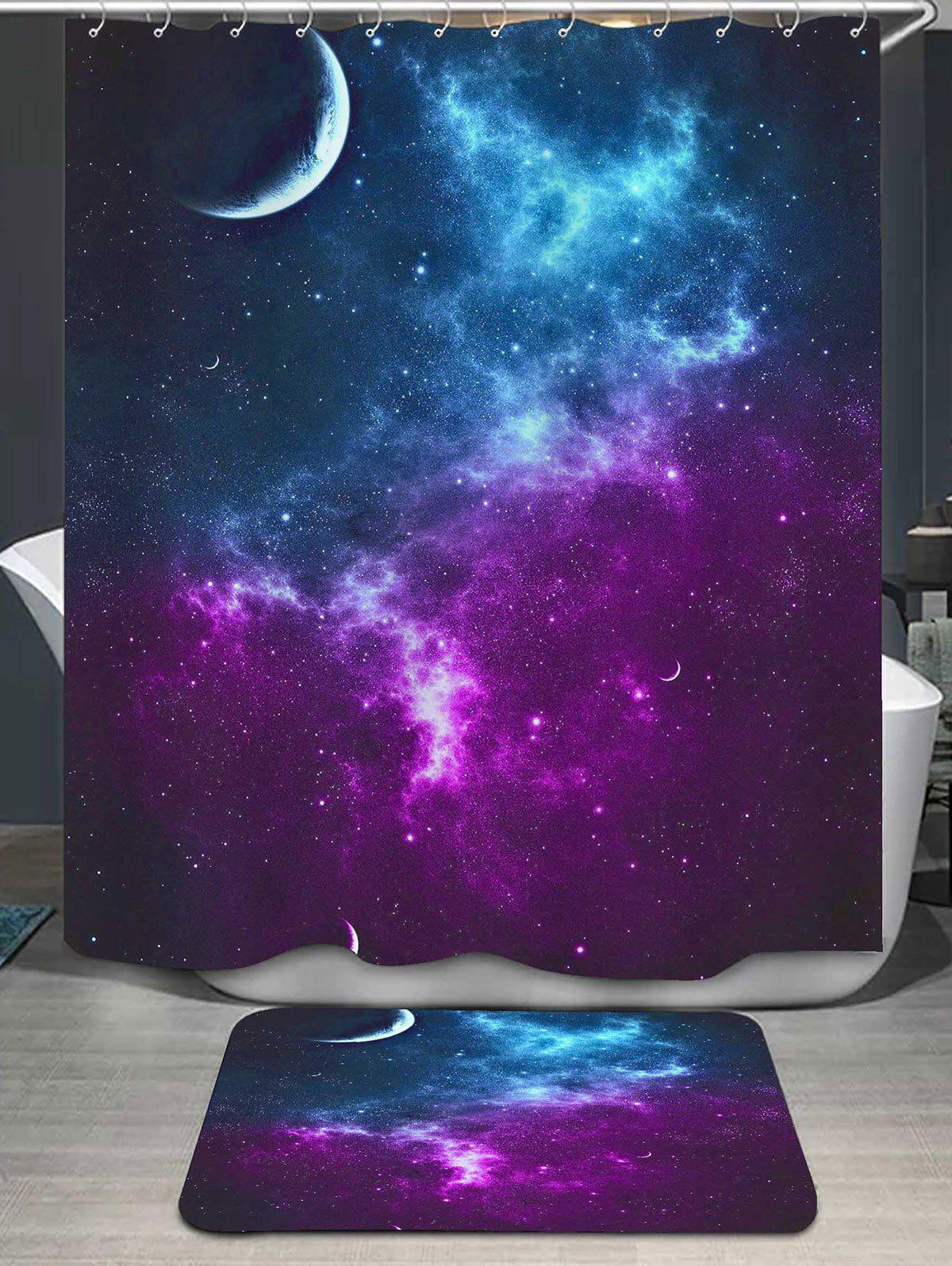 Galaxy Printed Shower Curtain and Area Rug