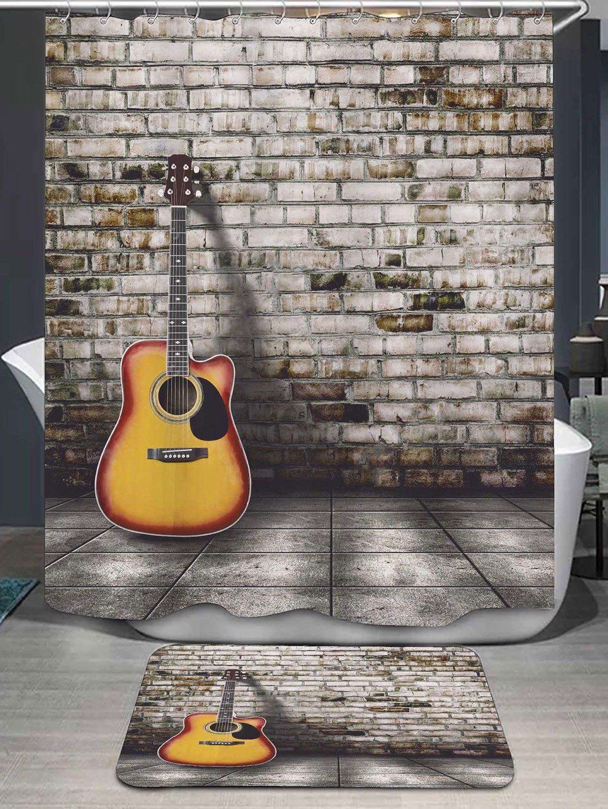 2018 Brick Wall Guitar Shower Curtain And Bath Mat Gray In