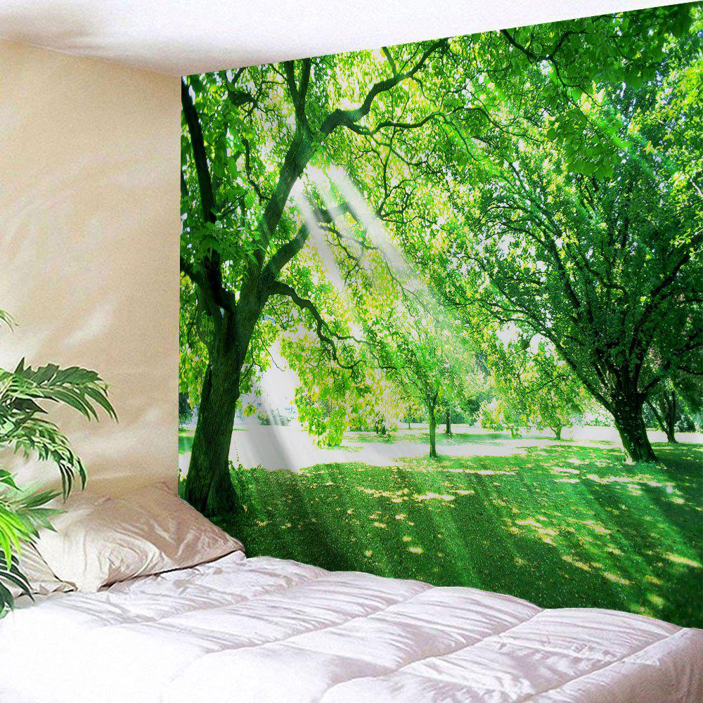 Sunlight Tree Print Tapestry Wall Hanging Art - GREEN W51 INCH * L59 INCH