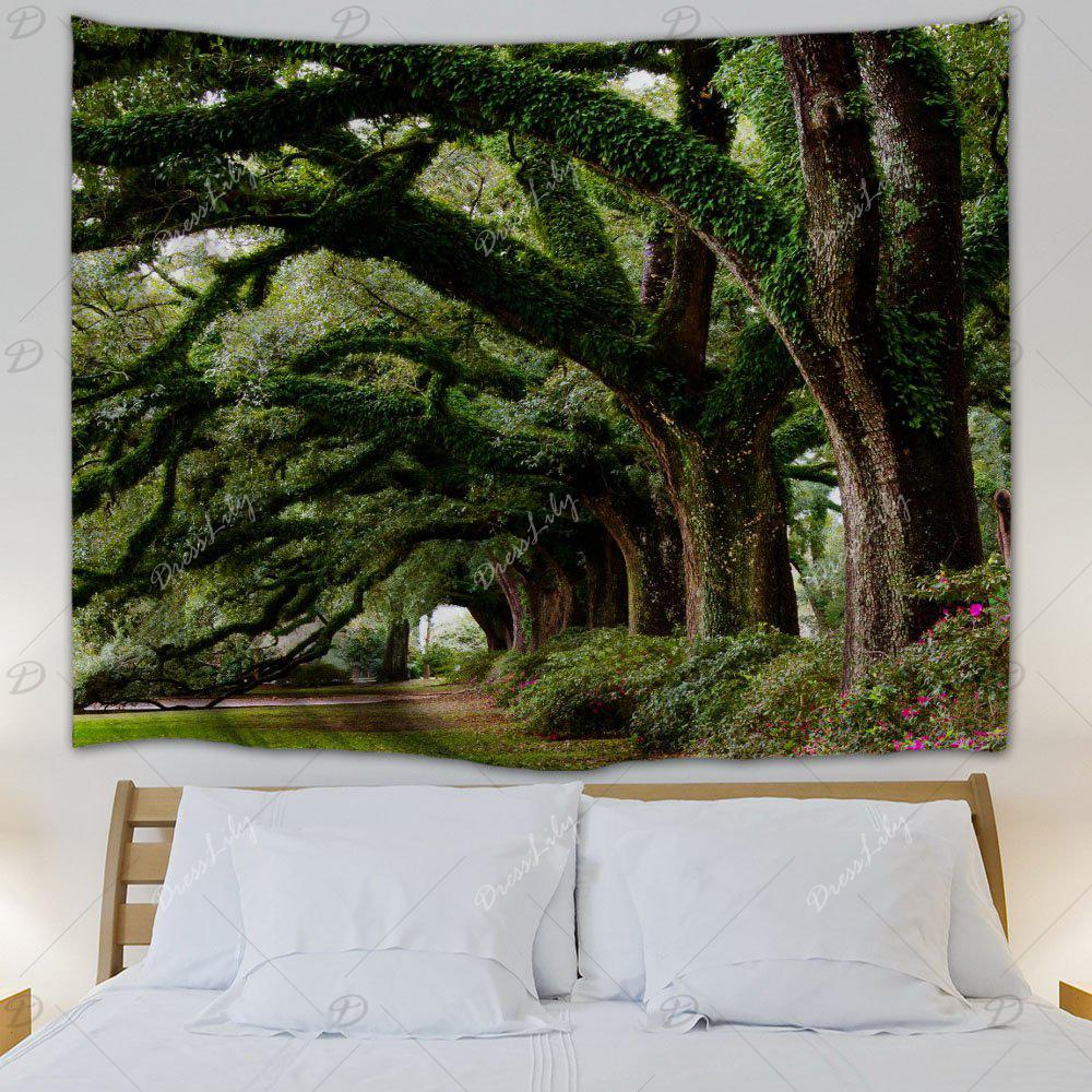 Wall Hanging Art Trees Avenue Print Tapestry - GREEN W71 INCH * L91 INCH
