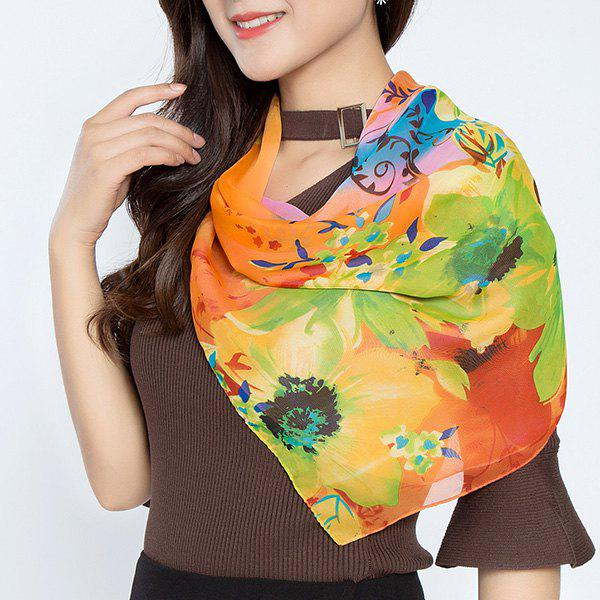 Flower Splash Ink Printed Chiffon Square Scarf - BURNT ORANGE