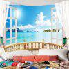 Window Seascape Wall Decor Waterproof Tapestry - LIGHT BLUE W59 INCH * L59 INCH