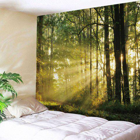 Forest Sunlight Print Tapestry Wall Hanging Decor - GREEN W59 INCH * L59 INCH