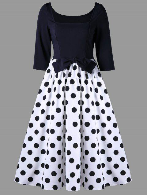 Polka Dot Bowknot Vintage A Line Dress - BLACK WHITE 2XL