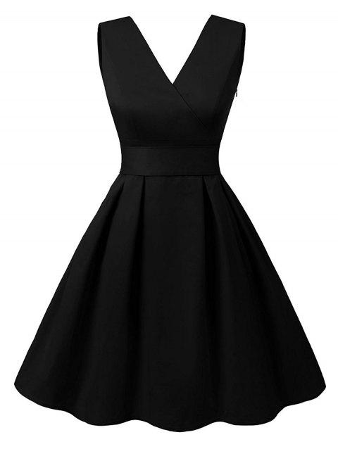 Vintage V Neck Cut Out Pin Up Dress - BLACK M