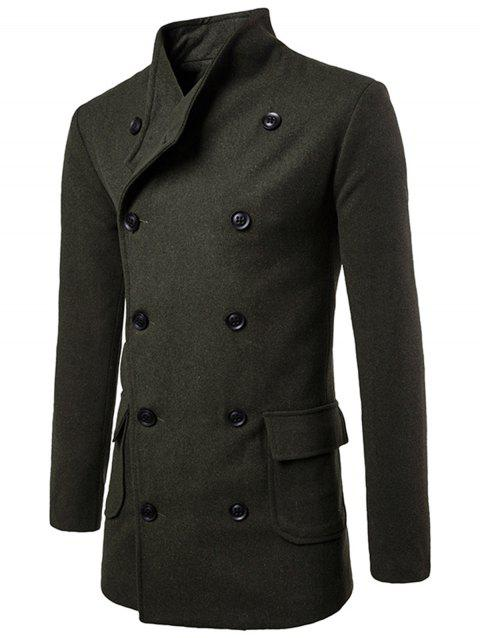 Double Breasted Tie-waist Wool Blend Coat - ARMY GREEN 2XL