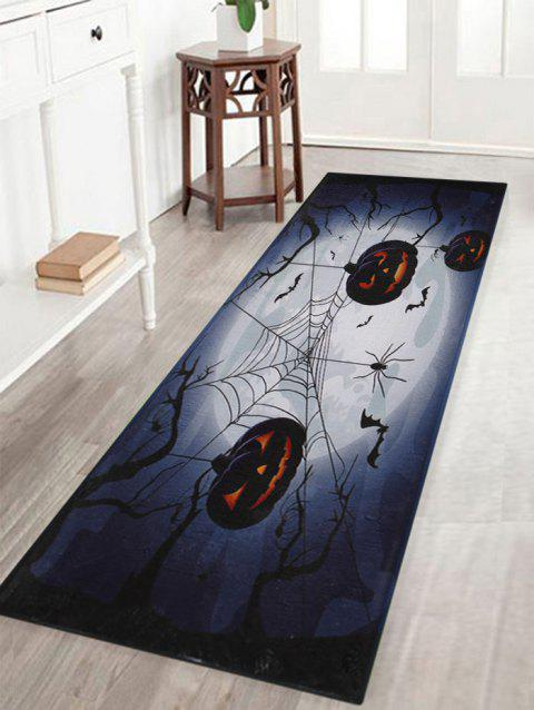 Pumpkin Bat Pattern Indoor Outdoor Area Rug Deep Blue W16 Inch L47