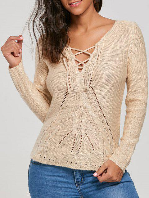 Lace Up évider Pull - Beige S