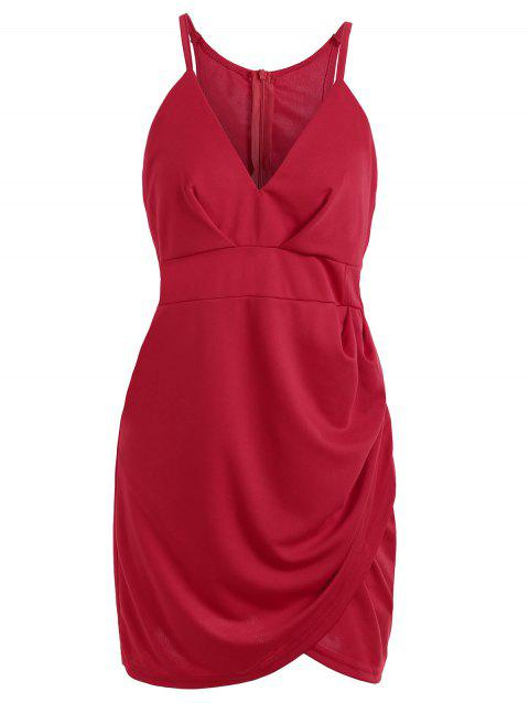 V Neck Sleeveless Cut Out Mini Club Dress - RED S