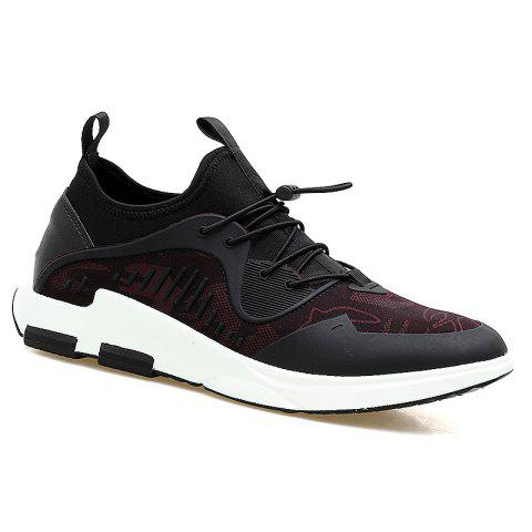 Stretch Fabric String Breathable Casual Shoes - BLACK/RED 44