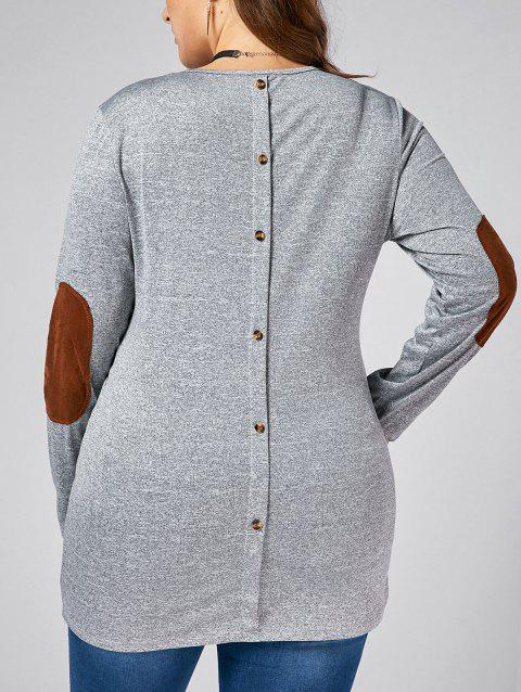 Plus Size Back Button Long Sleeve Elbow Patch T-shirt - GRAY 3XL