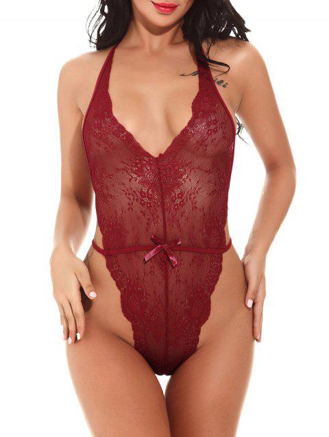 Halter See Through Lace Teddy - WINE RED L