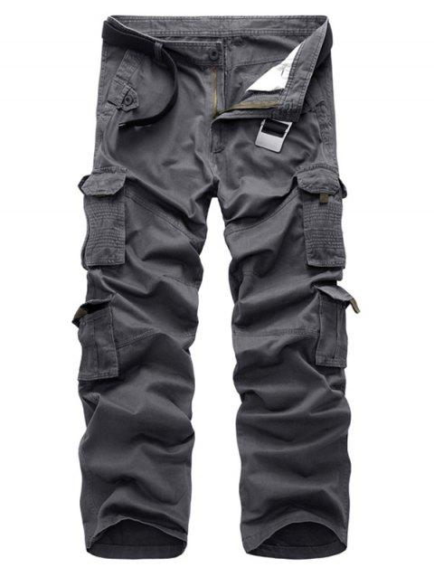 Zip Fly Straight Cargo Pants with Pockets - GRAY 32
