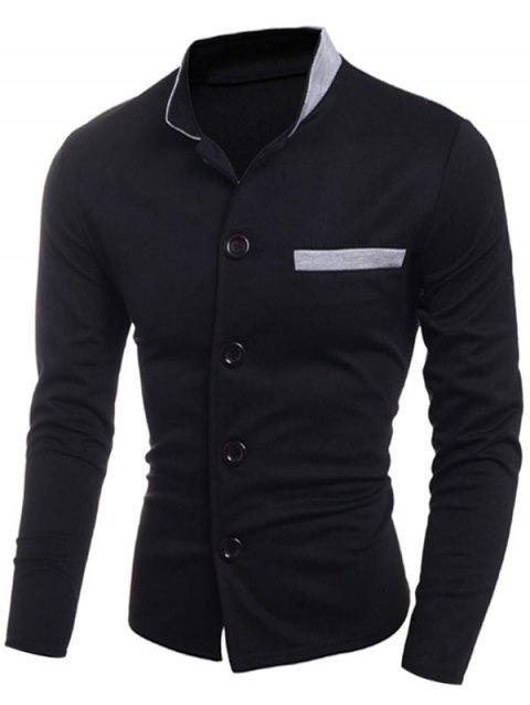 Stand Collar Single Breasted Edging Jacket - BLACK L