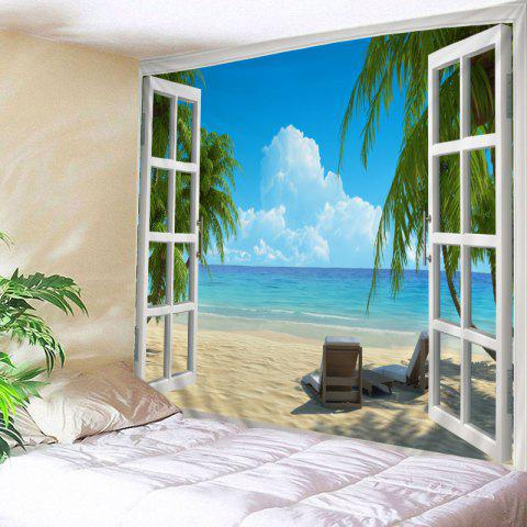 Window Beach View Print Tapestry Wall Hanging Art - LAKE BLUE W59 INCH * L51 INCH