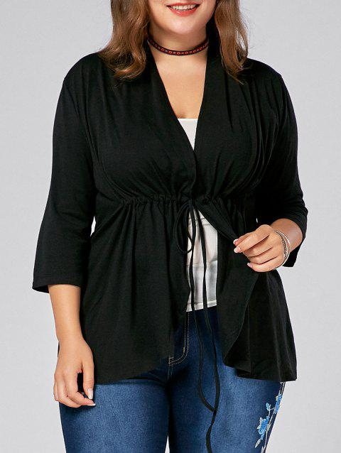Drawstring Plus Size V Neck Peplum Top - BLACK 2XL