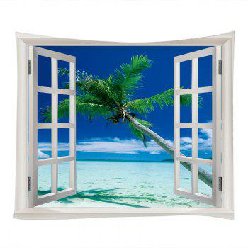Window Beach Tree Print Tapestry Wall Hanging Art - BLUE BLUE
