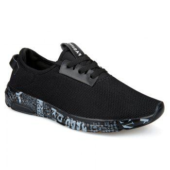 Letter Print Sole Low-top Mesh Athletic Shoes - BLACK GREY 42