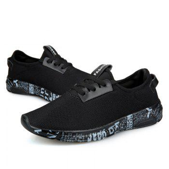 Letter Print Sole Low-top Mesh Athletic Shoes - BLACK GREY 43