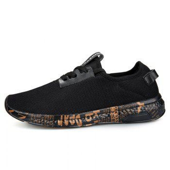 Letter Print Sole Low-top Mesh Athletic Shoes - BLACK GOLD 43