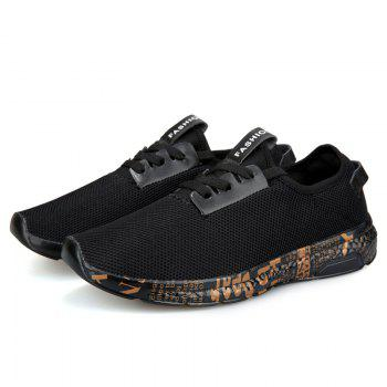 Letter Print Sole Low-top Mesh Athletic Shoes - BLACK GOLD 41
