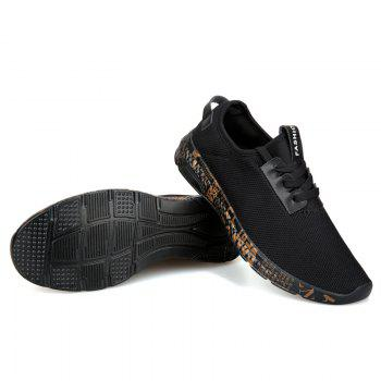 Letter Print Sole Low-top Mesh Athletic Shoes - BLACK GOLD 42