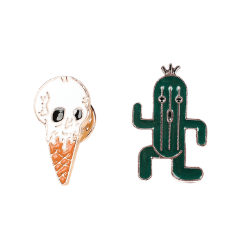 Skull Ice Cream Cactus Brooch Set