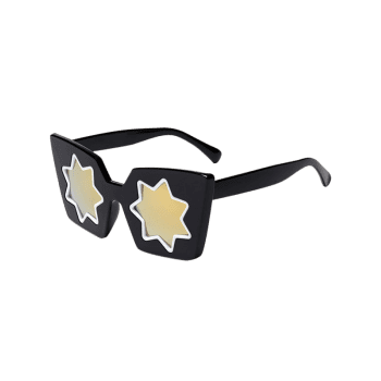 Star Geometric Frame Fancy Reflective Mirrored Sunglasses - GOLDEN