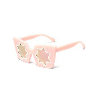 Star Geometric Frame Fancy Reflective Mirrored Sunglasses - PINK PINK