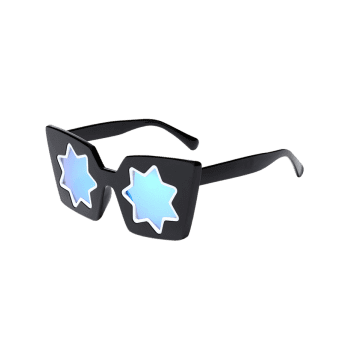 Star Geometric Frame Fancy Reflective Mirrored Sunglasses - BLUE