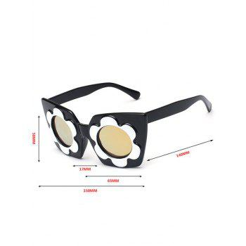 Fancy Flower Frame Reflective Mirrored Sunglasses -  GOLDEN