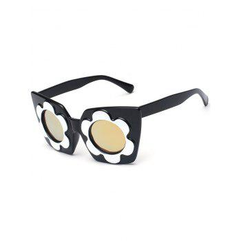 Fancy Flower Frame Reflective Mirrored Sunglasses - GOLDEN GOLDEN