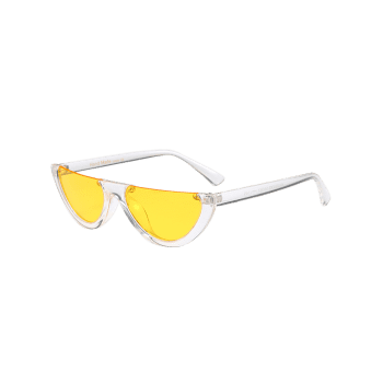 Semilunar Semi-Rimless Street Snap Sunglasses -  YELLOW