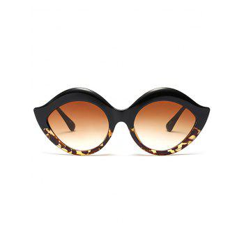Lip Design Street Snap Anti UV Sunglasses -  BLACK LEOPARD PRINT