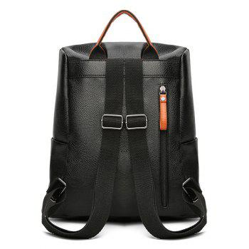 Faux Leather Embroidery Backpack - BLACK