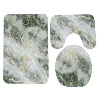 Marble Grain Pattern 3 Pcs Flannel Bathroom Toilet Mat - GREY WHITE