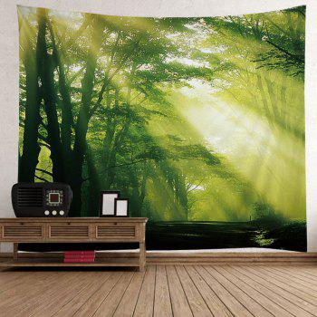 Sunlight Forest Avenue Print Tapestry Wall Hanging Art - GREEN GREEN