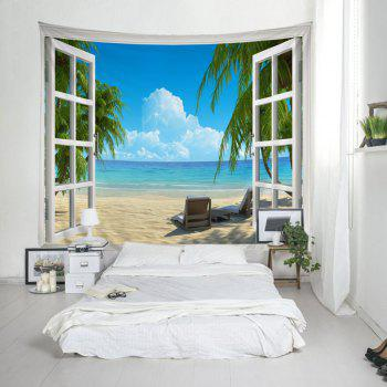 Window Beach View Print Tapestry Wall Hanging Art - LAKE BLUE W79 INCH * L59 INCH
