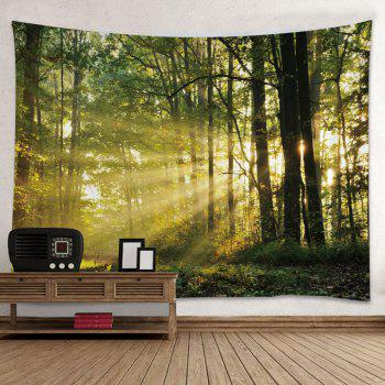 Forest Sunlight Print Tapestry Wall Hanging Decor - GREEN GREEN