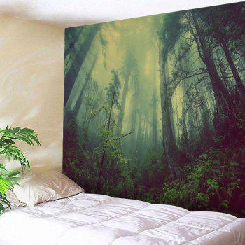 Mountain Forest Fog Print Tapestry Wall Hanging Art - GREEN GREEN