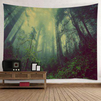 Mountain Forest Fog Print Tapestry Wall Hanging Art - GREEN W59 INCH * L59 INCH