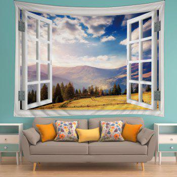 Window Moutain View Print Tapestry Wall Hanging Art - COLORMIX W59 INCH * L51 INCH