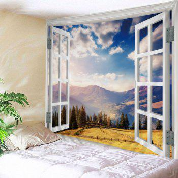 Window Moutain View Print Tapestry Wall Hanging Art - COLORMIX COLORMIX