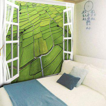 Wall Hanging Rice Field Aerial View Print Tapestry - GREEN W79 INCH * L59 INCH